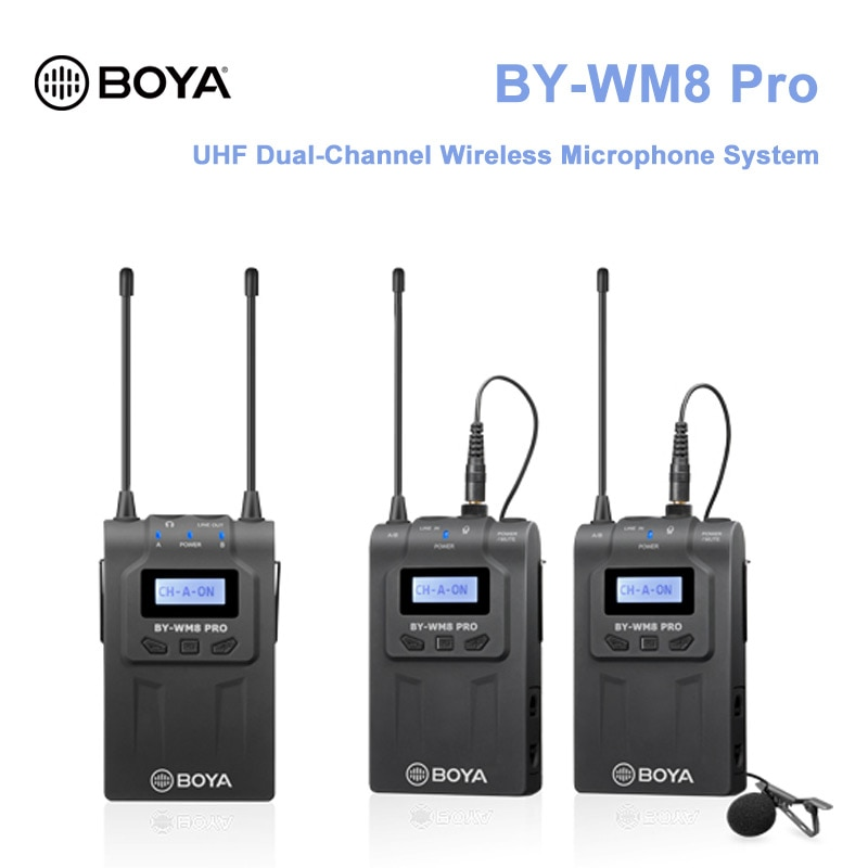 Promo BOYA BOYA BY-WM8 Pro K1 K2 UHF Dual Wireless Microphone system Interview Mic for iPhone for pc DSLR Video Camera wm8 pro K7