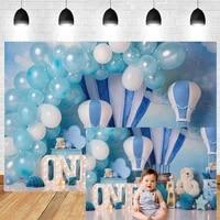 newborn baby boy portrait backdrop studio bear balloons hot air balloon photography background 1st birthday studio photo booth