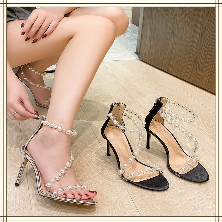 High Heels Women's 2021 New Thin Heel Zipper Pearl Transparent Sandals Silver Shoes