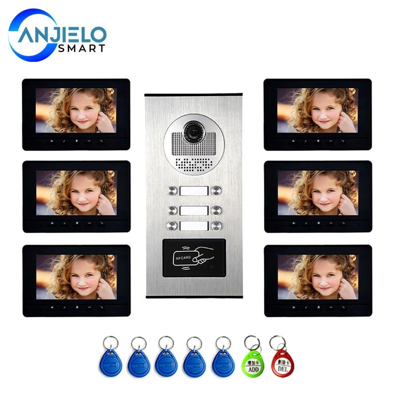 7'' Color Video Intercom RFID Card Camera Video Doorbell with 6 Monitors Video Door Phone for multi Apartments