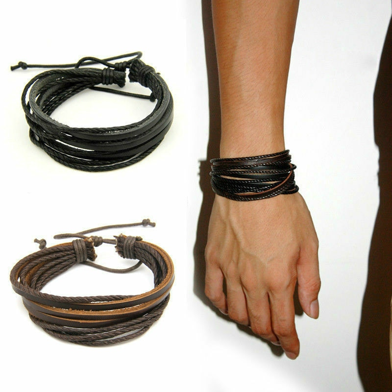 Men's Multilayer Leather Bracelet Black Brown Cowhide Woven Multilayer Wrap Fashion Jewelry Couple B