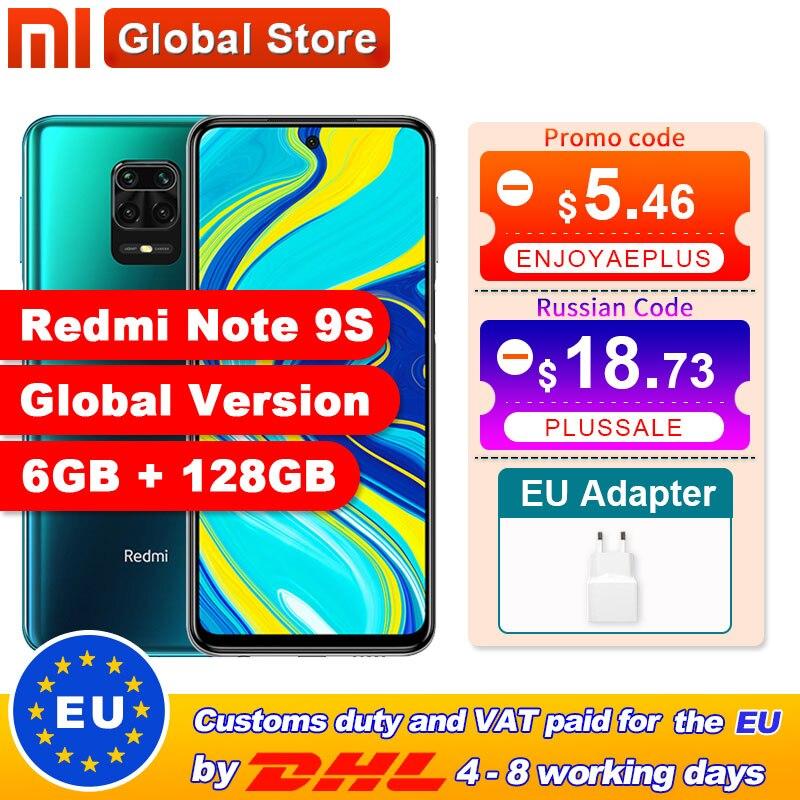 Versão global xiaomi redmi nota 9 s 128gb 6gb smartphone snapdragon 720g octa núcleo 5020 mah 48mp quad câmera nota 9 s