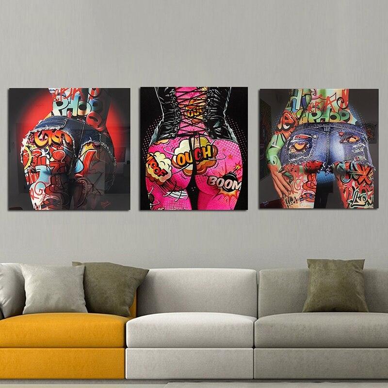 Pop Graffiti Sexy Ass Art pintura colorida de la lona carteles e impresiones pared imágenes artísticas para sala de estar dormitorio Cuadros