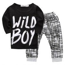 T-shirt pour nouveau-né   Ensemble de vêtements décontractés, 2 pièces, pour bébés garçons sauvages et garçons