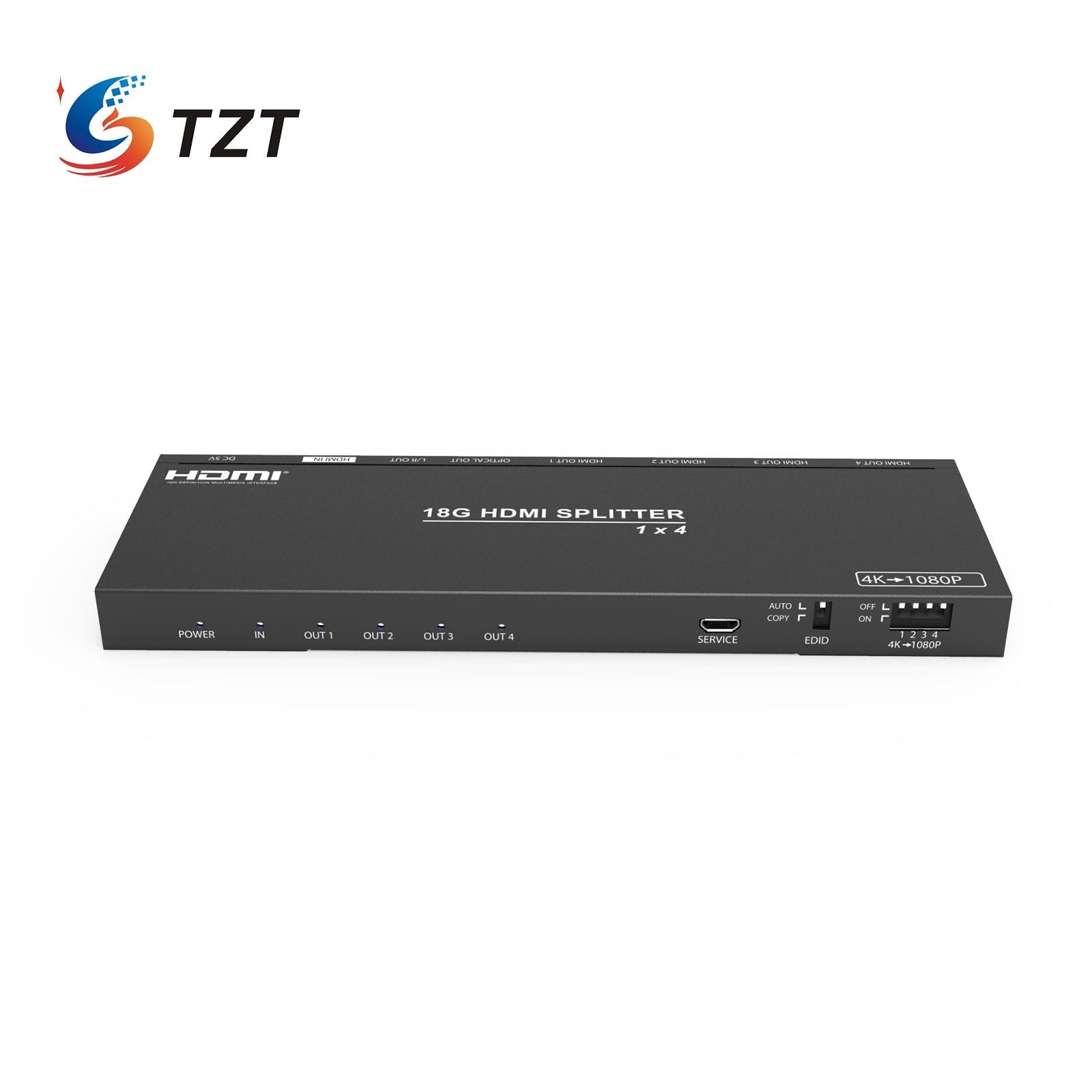 TZT HDMI-متوافق الفاصل HDCP 1 في 4 خارج محول محول 1x4 دعم 4K 60Hz فصل الصوت ل Dolby 5.1 HDV-B14SA
