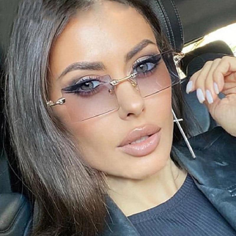 Hip Hop Eyeglasses Rimless Sun Glasses Vintage Sunglasses For Women Fashion Eyewear Men Mirror Oculo