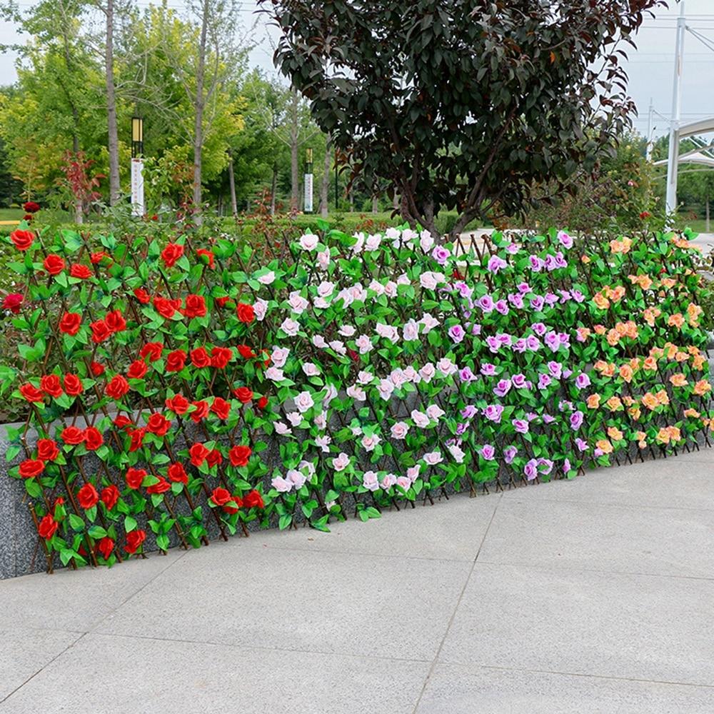 Расширяющийся решетчатый искусственный листьевой садовый забор, регулируемый выдвижной защищенный забор, настенное озеленение, деревянны...