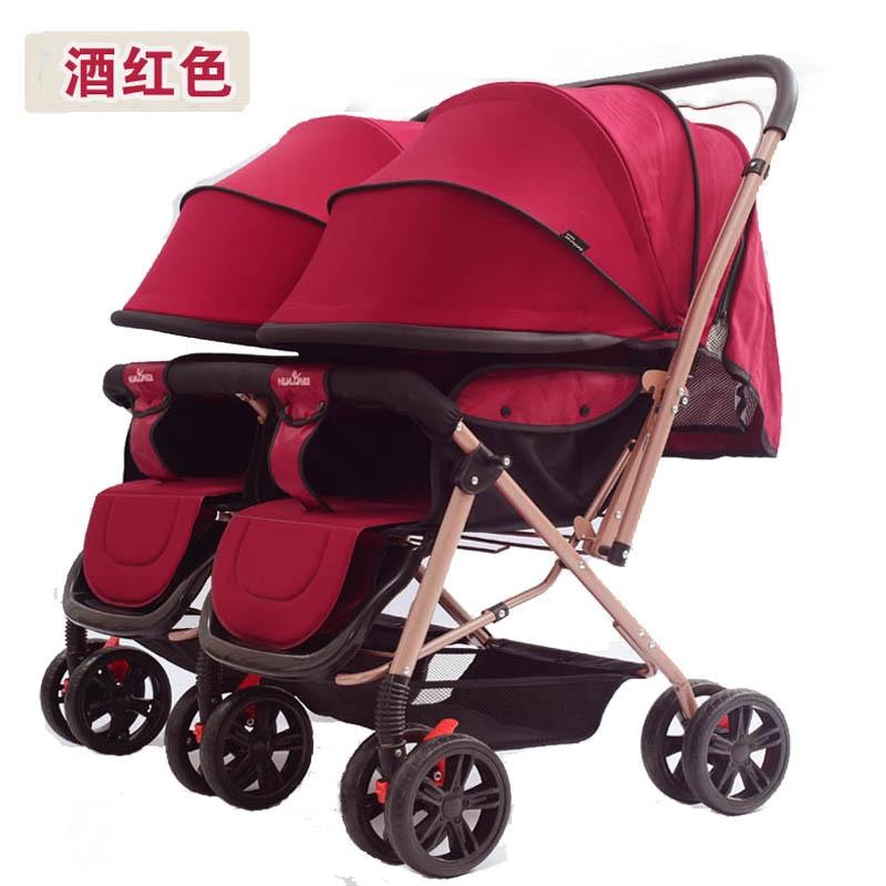 عربة أطفال مزدوجة ، عربة أطفال مزدوجة ، خفيفة الوزن ، قابلة للطي ، مع ممتص للصدمات ، مصعد ، مساحة كبيرة