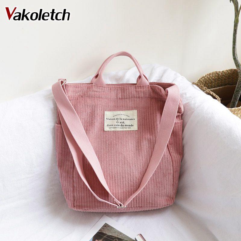 Large Capacity Cloth Handbag Tote Female Crossbody Messenger Bags Ladies Simple Canvas Purses Women Corduroy Shoulder Bag KL768