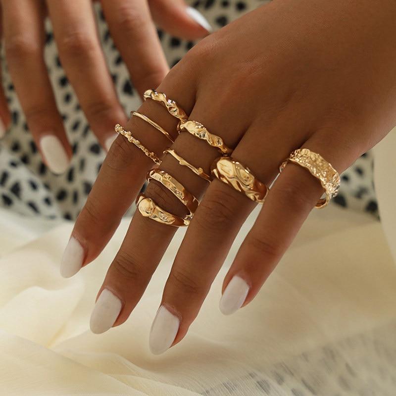 9 pçs/set Bohemia Trançado Irregular Das Mulheres Anéis De Ouro Da Moda de Metal Personalidade Conjunto Anel Partido para As Mulheres Jewely Acessórios