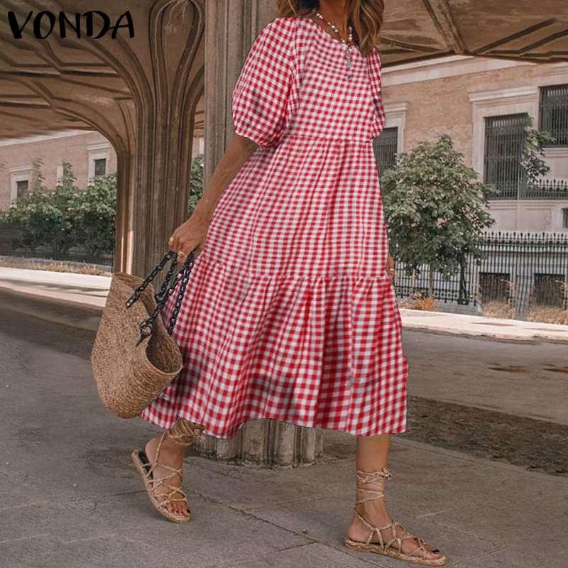 Summer Dress VONDA 2021 Women Casual Short Sleeve  Vintage Plaid Printed Sundress Loose Pleat Mid-Calf Dresses Femme Party Robe