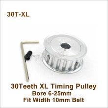 Powge 30 Tanden Xl Timing Katrol Boring 6-25 Mm Fit W = 10 Mm Xl Riem 30 T 30 Tanden Xl Synchrone Riemschijf Trapezium 30-XL Af