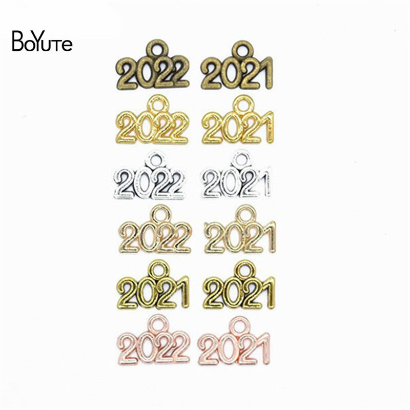 BoYuTe (100 unids/lote) 14*9MM aleación de Metal de 2019, 2020 de 2021 año 2022 colgantes de recuerdo colgante Diy hecho a mano accesorios de la joyería