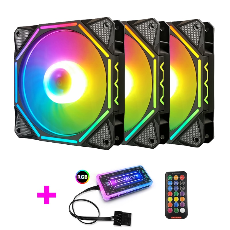Coolmoon LN2 RGB Fan AURA SYNC with IR Remote Quiet 120mm Computer Case CPU Cooler and Radiator RGB Case Fans coolmoon 120mm pc computer case fan cooling cooler 6pin adjustable rgb mute ventilador rgb case fans adjust speed