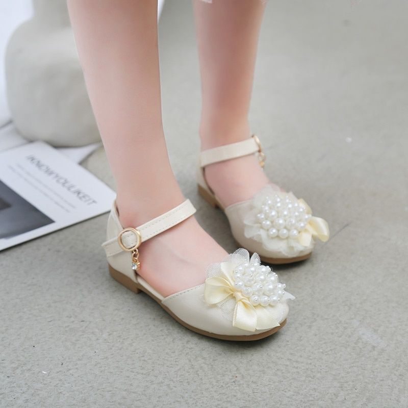Princess Shoes For Girls Soft Leather Shoes Children Flats Sweet Cute Pearls With Lace Kids Dress Shoes For Dancing Party Show