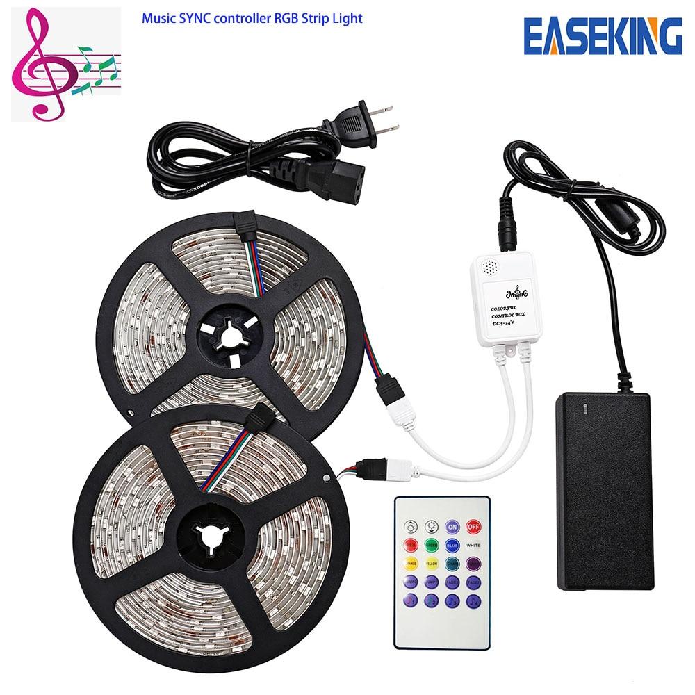 RGB Music sync LED Strip light SMD 5050 5M 10M Flexible Tape diode ribbon Music Controller power supply 15M 20M RGB Tape light