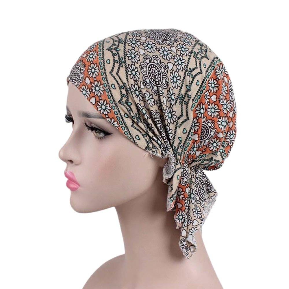 Faahion Women India Muslim Elastic Beanies Turban Print Skullies Pattern Print Cotton Hat Head Scarf