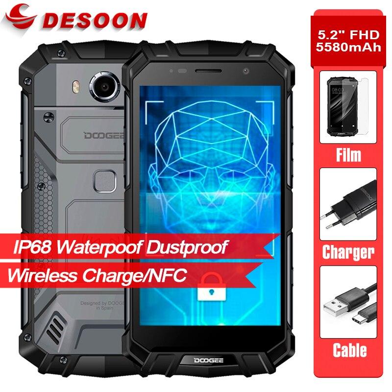 "Doogee s60 lite 5.2 ""fhd ip68 impermeável 5580mah 12v/2a sem fio carga smartphone 4gb 32gb glonass nfc touch id 4g lte cellphon"