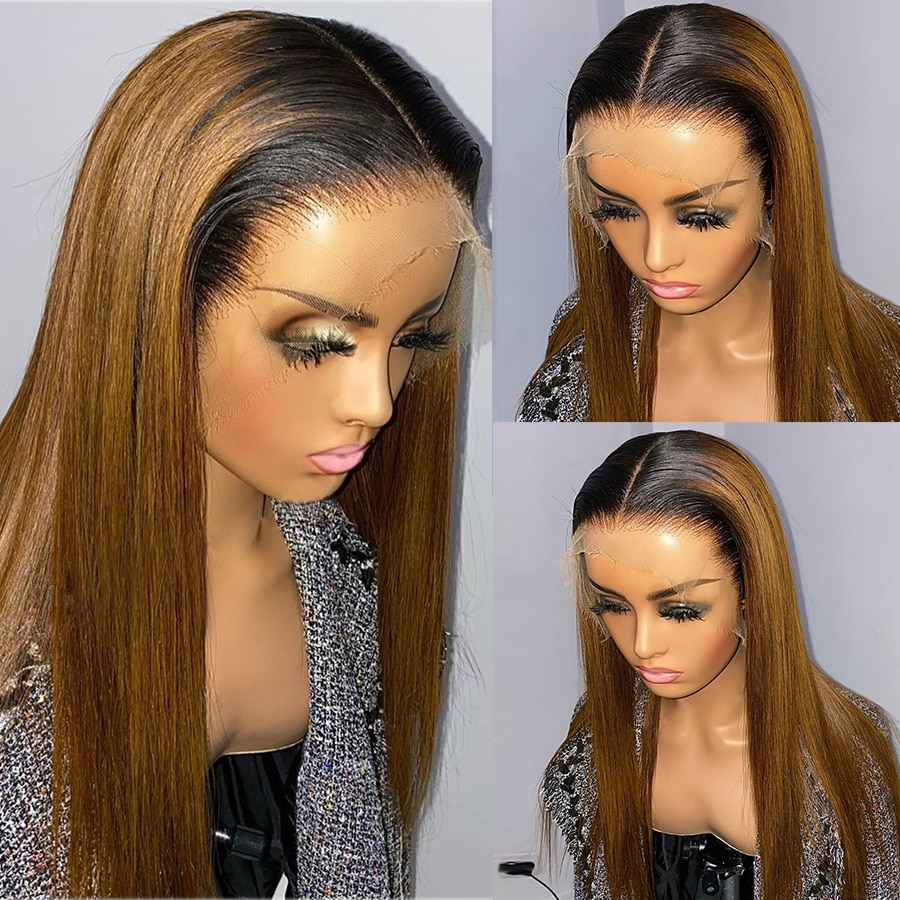180% Straight 1b/27 Ombre Synthetic Hair Wig For Women 2 Color Honey Blonde Lace Front Fiber wigs Natural Hairline