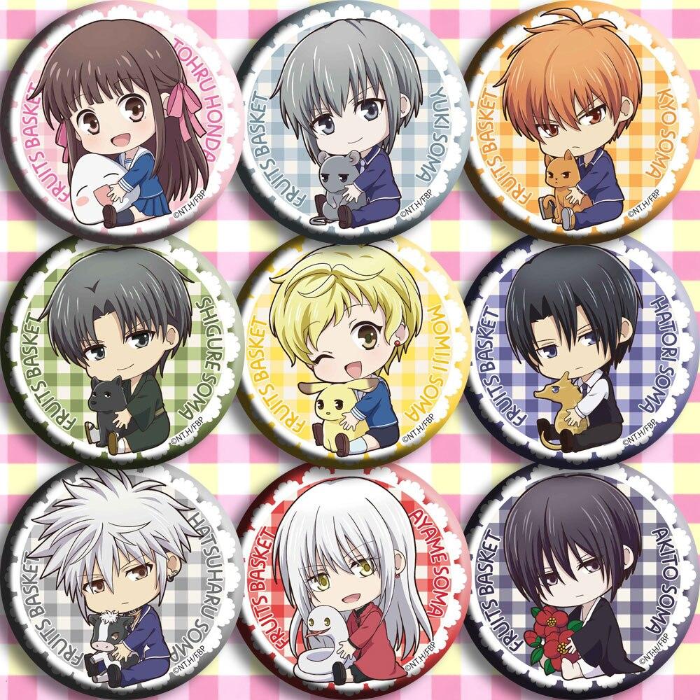 Anime japonés para cesta de frutas Honda Cosplay insignia de dibujos animados broche alfileres colección mochilas insignias para bolsos botón regalos