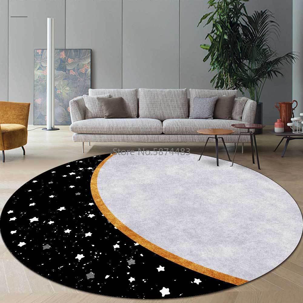 200cm Modern Night Sky Star Hour Hand Black Gray Living Room Bedroom Hanging Basket Chair Round Floor Mat Custom