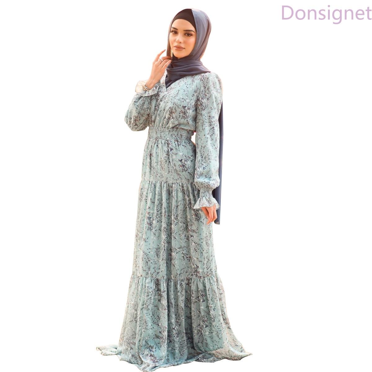 Donsignet-vestido musulmán suave con estampado plateado, elegante vestido largo plisada de gasa...