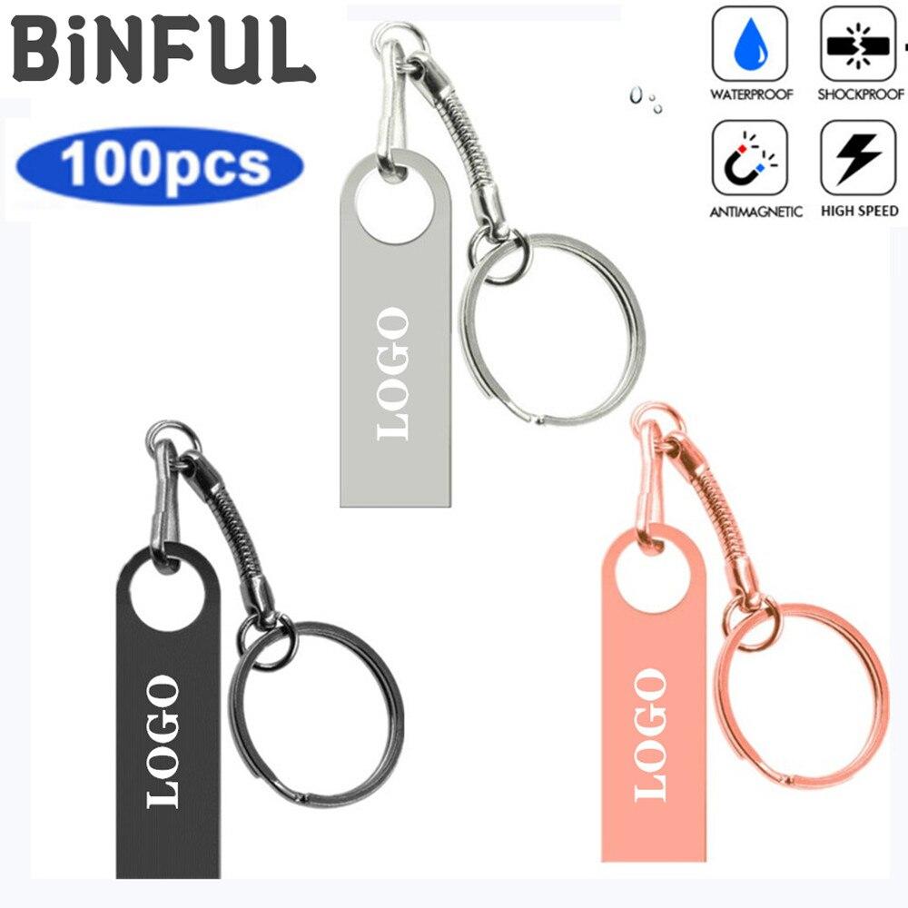 BiNFUL 100pcs Metal Usb Flash Drive USB 2.0 Pen Drive 1GB 2GB 4GB 8GB 16GB 32GB Pendrive Flash Disk U Disk Free print LOGO