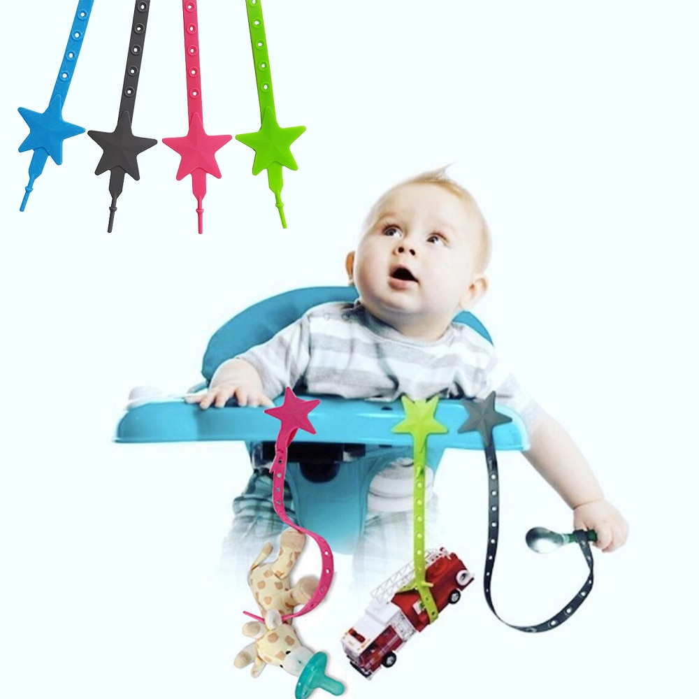Baby Stroller Hook Silicone Star Pacifier Chain Non-toxic Teether Strap Kids Toy Holder Stroller Org