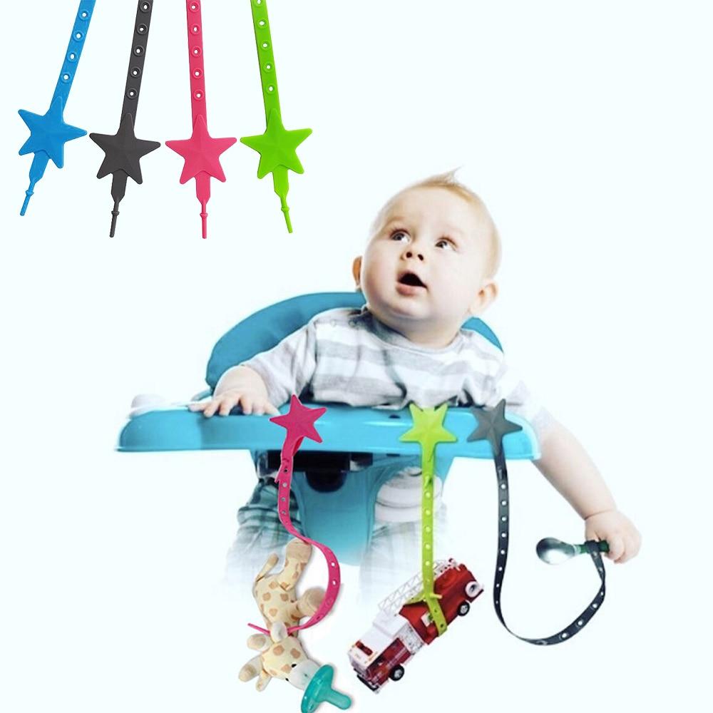 Baby Stroller Hook Silicone Star Pacifier Chain Non-toxic Teether Strap Kids Toy Holder Stroller Organizer Stroller Accessories