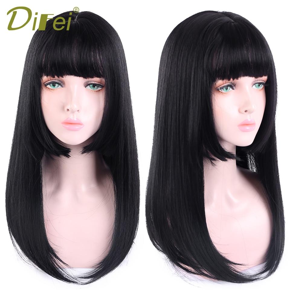 Pelucas DIFEI de 20 pulgadas de largo negro Lolita con flequillo, pelucas rectas sintéticas resistentes al calor para mujeres, pelo falso afroamericano