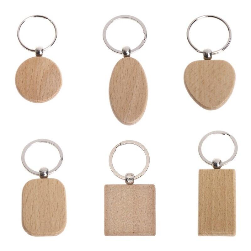 5PCS Blank Holz Schlüssel Kette DIY Holz Schlüsselanhänger Tags Werbe Geschenke Schlüssel Ring DIY Schlüssel Dekoration Liefert
