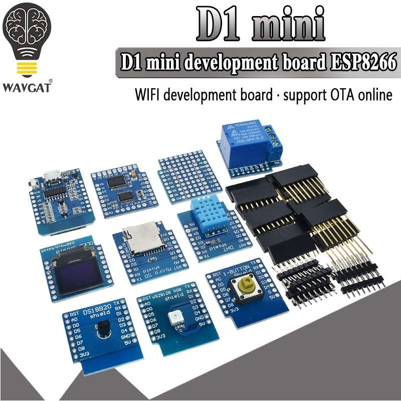 D1 Mini ESP8266 ESP-12 ESP-12F CH340G CH340 V2 USB WeMos WIFI Development Board D1 Mini NodeMCU Lua IOT Board 3.3V With Pins