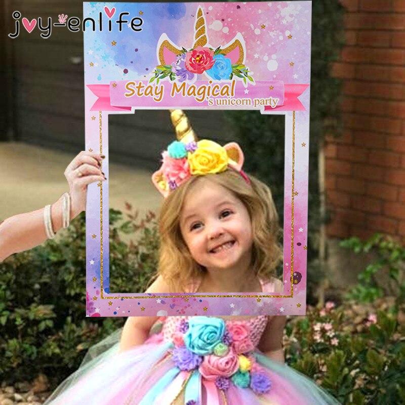 1 pçs unicórnio quadro de cabine de fotos feliz aniversário decorações de festa crianças fotocabine favores de festa suprimentos unicórnio festa cabine de fotos