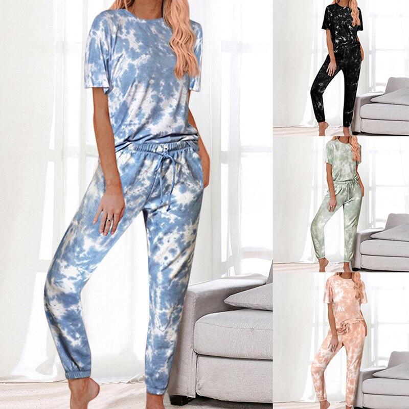 2020 Casual Tie-dye Suits Wears Pajama Sets Women Short Sleeve Round Collar Tops + Full Pants Two Pieces Sets Homewear Sleepwear