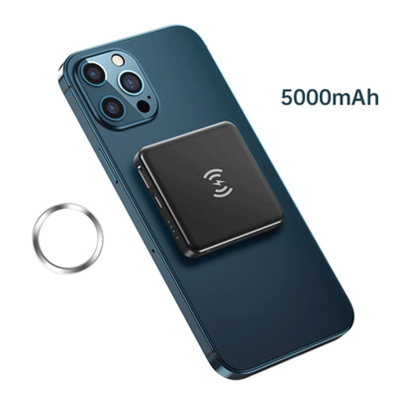Magnetic Wireless Power Bank, 22W 5000mAh Fast Portable Wireless Charger USB C Quick Charging Extern