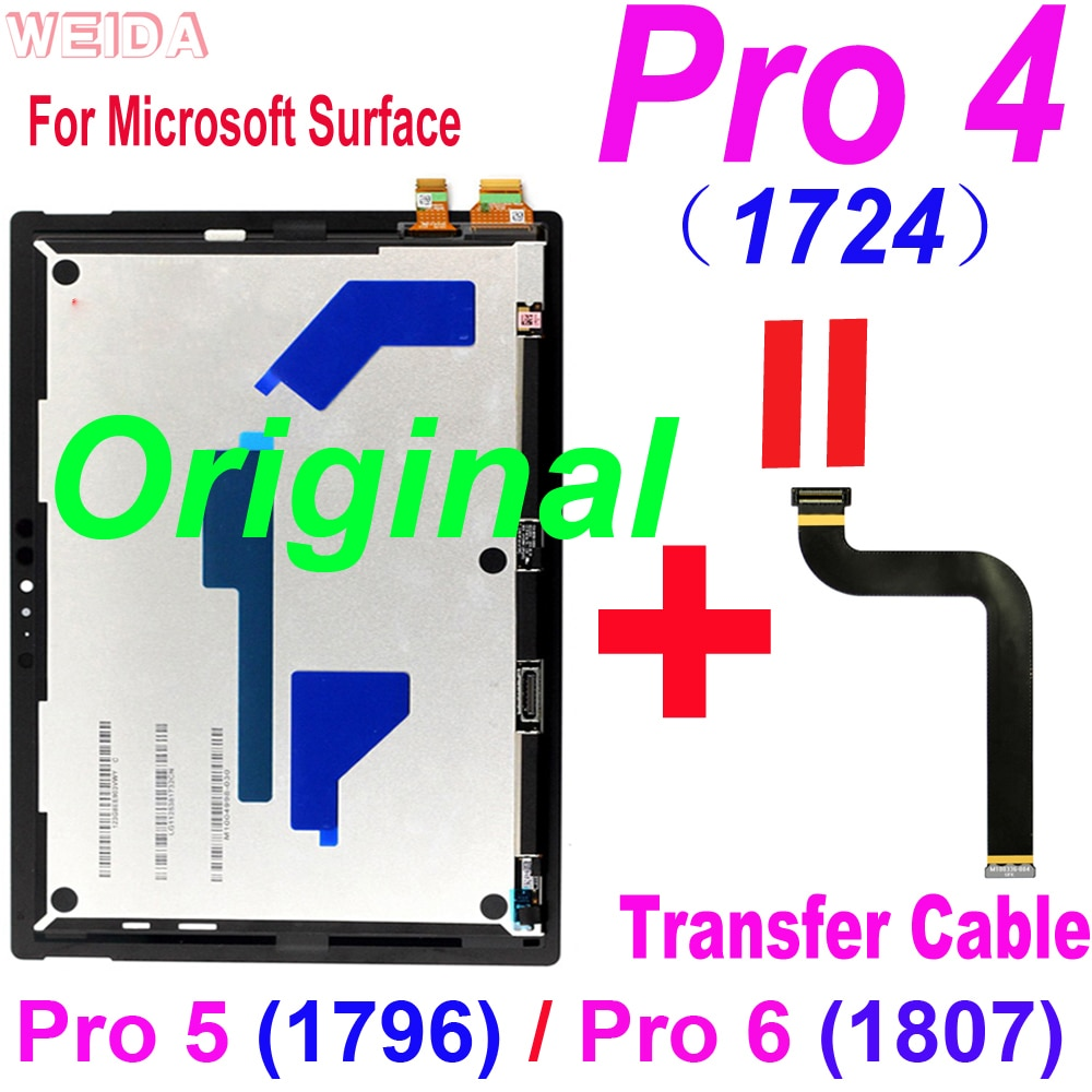 Original LCD For Microsoft Surface Pro 4 1724 LCD Display Touch Screen Digitizer Assembly for Surface Pro 5 1796 Pro 6 1807 LCD