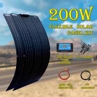 200w 18v solar panel kit 12v flexible with controller module 2pcs 100w for rv home caravans battery waterproof car