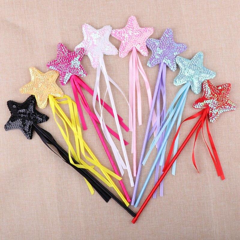 1 Uds gran oferta día de Halloween Linda estrella de cinco puntas varita mágica varita de hada chica fiesta princesa favores decoración de fiesta encantadora