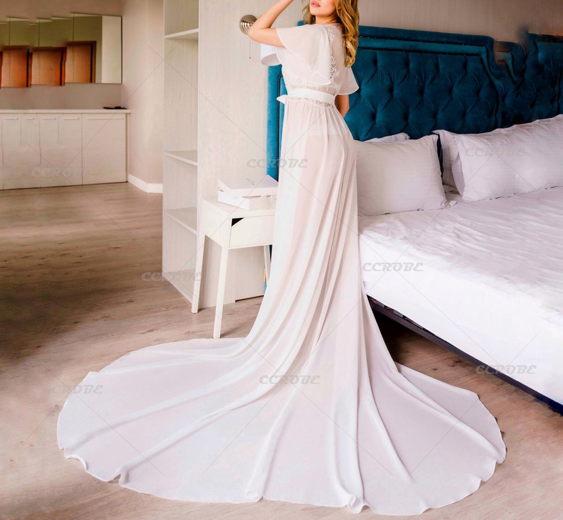 Bridal Robe with Train Sheer Chiffon Robe Long Perspective Sheer Lace Trailing Dressing Gown Wedding Tulle Sleepwear Bathrobe