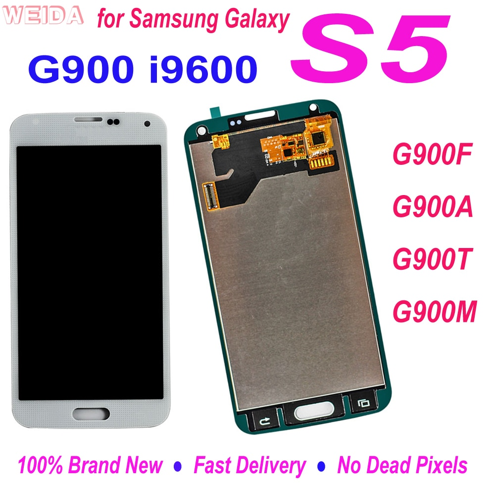 شاشة LCD مختبرة لعام 100% لهواتف سامسونج جلاكسي S5 i9600 G900 G900F G900A G900T G900M شاشة LCD تعمل باللمس قطع غيار مجمع رقمي