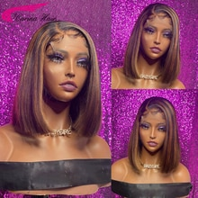 Highlight Human Hair Bob Wigs Straight 13X1 Lace Part Human Hair Wigs 180% Brazilian Remy Colored Bl