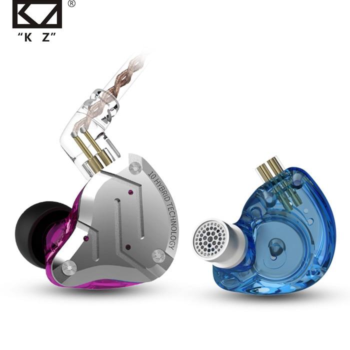 KZ ZS10 برو المعادن سماعة 4BA + 1DD الهجين 10 السائقين ايفي باس سماعات الأذن في الأذن مراقب سماعات الرياضة الضوضاء إلغاء سماعات