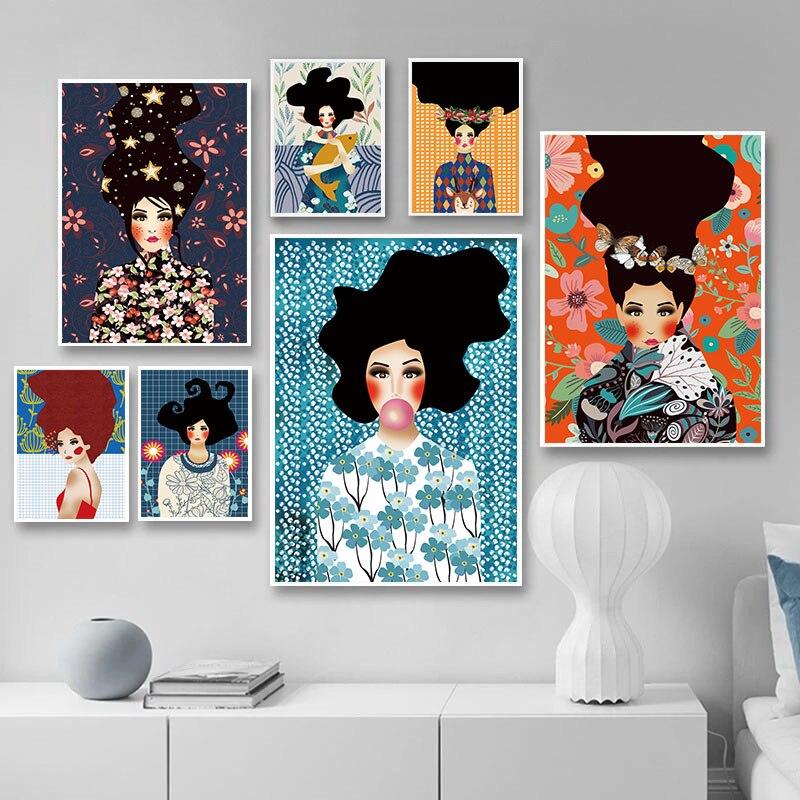 Moda abstracta chica cuadro sobre lienzo para pared Vintage cartel nórdico impresión minimalista arte moderno foto Decoración Para sala de estar