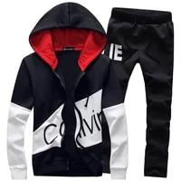 Conjuntos de homens com capuz hoodies   calcas roupa masculina fatos de treino roupas esportivas com ziper casacos outono invern