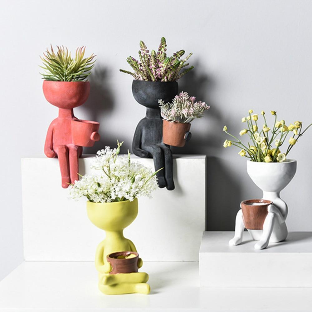 Flor florero de decoración para casa maceta para flores creativa resina arte nórdico retrato escultura maceta jarrón hogar jardín decoración jarrones de exhibición