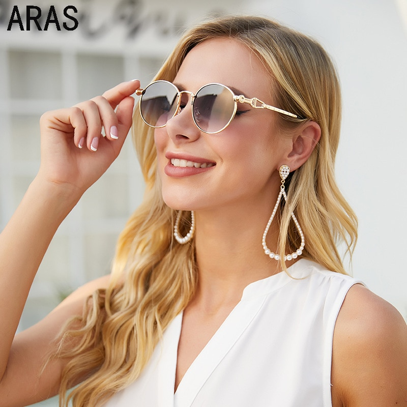 2021 Модные Винтажные круглые женские солнцезащитные очки модные классические ретро маленькие очки в оправе женские роскошные брендовые диз...