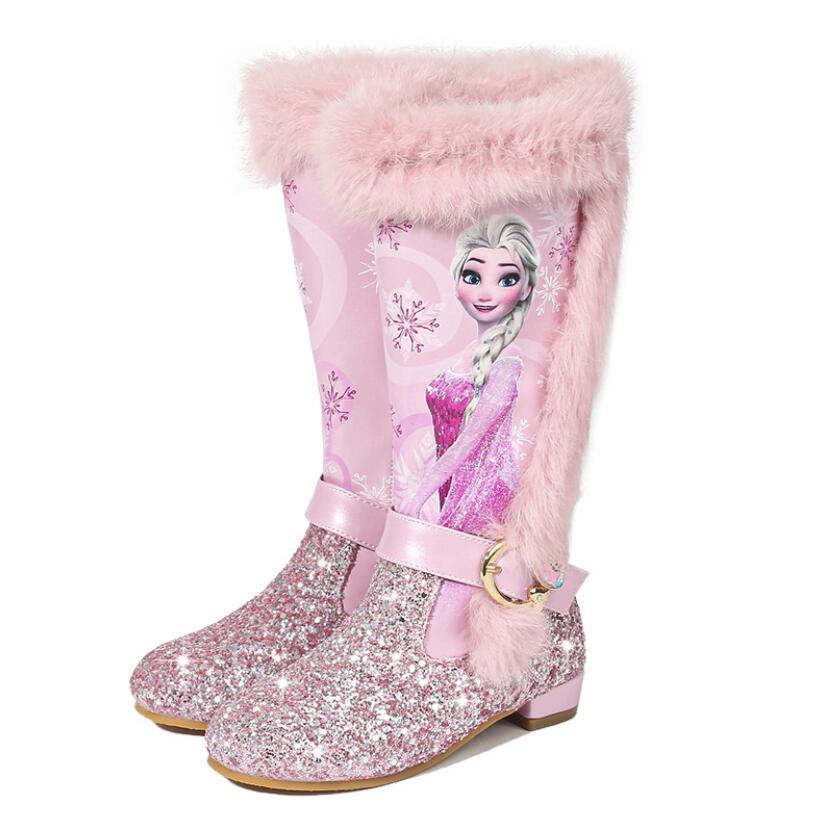Elsa prinzessin kinder hohe stiefel neue winter mädchen stiefel Marke kinder über die knie stiefel für mädchen schnee schuhe rosa blau