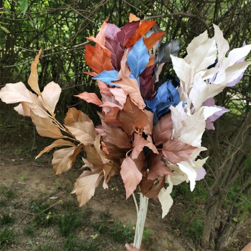 """7 pces falso long sten mugwort (3 hastes/bando) 39.37 """"comprimento simulação faia para casa casamento decorativo plantas artificiais"""
