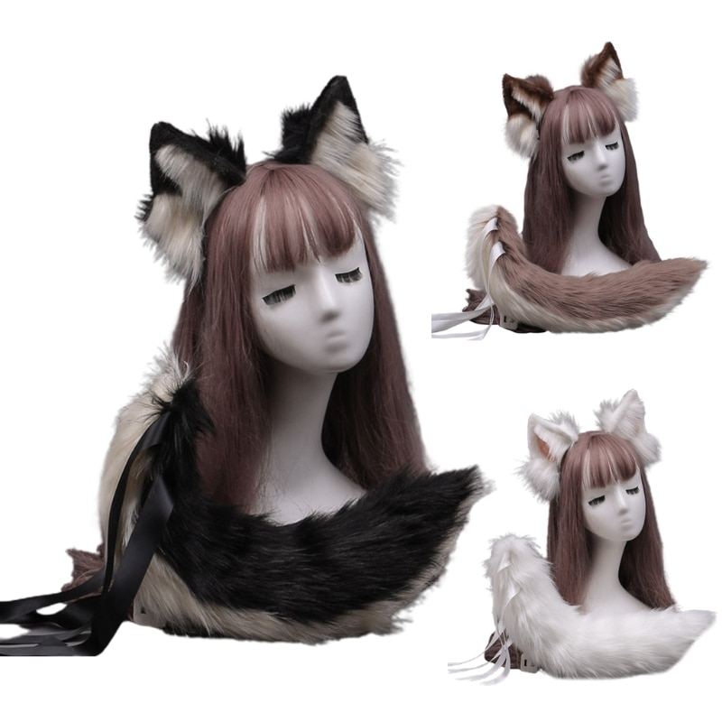 Faux Fur Wolf Ears Headband Furry Animal Tail Cosplay Props Carnival Party Fancy Dress Halloween Costume Accessories