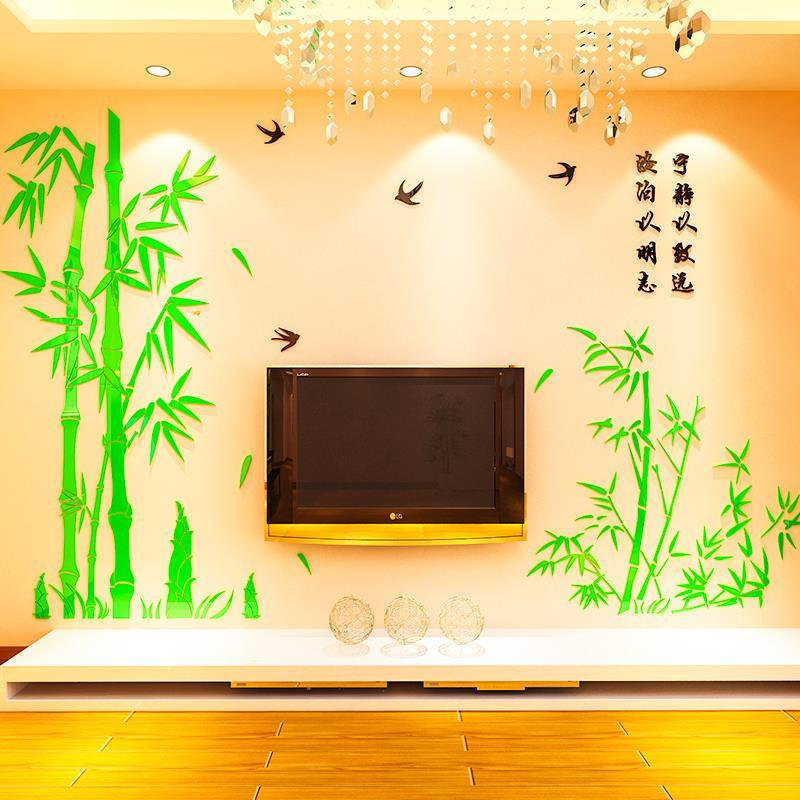 Adesivo de parede de bambu para sofá tv fundo estilo chinês adesivos de parede decalques à prova dwaterproof água sala estar adesivos mural 3d